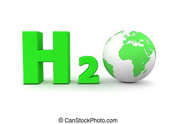 世界的である, -, 酸化物, h2o, 緑, 水素
