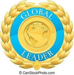 世界的である, 金, 花輪, 勝者, 月桂樹, メダル, リーダー