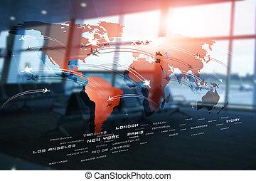 世界的である, avaitaion, ビジネス, 背景