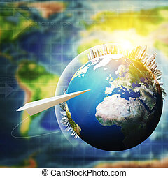世界的である, communications., 抽象的, 技術, そして, 交通機関, 背景