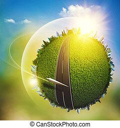 世界的である, eco, 交通機関, 概念, ∥ために∥, あなたの, デザイン