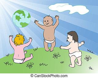 世界的である,  EPS, 含む, また, 8, 子供, 幸せ