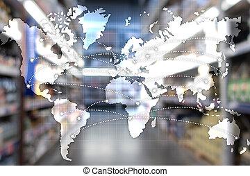 世界的である, partnership., エクスポート, ロジスティクス, concept., 輸入, 地図
