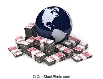 世界的である, yuan, ビジネス, 中国語