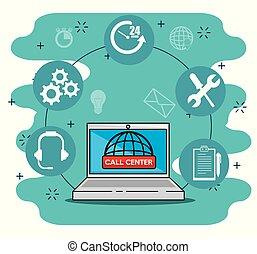 世界的に, 中心, サービス, アイコン, ラップトップ, サポート