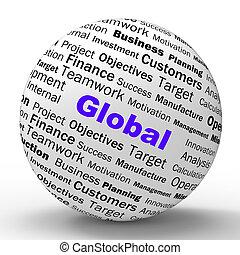 世界的に, 定義, コミュニケーション, 世界的である, 意味, 球, globalization, インターナショナル...