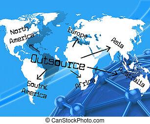 世界的に, 独立した, 建築業者, ∥示す∥, outsource, 地球