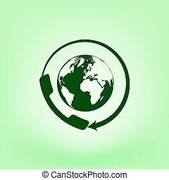 世界的に, 顧客, 平ら, call-center., サポート, アイコン