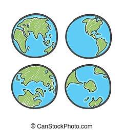 世界, ∥あるいは∥, doodles, バックグラウンド。, 地球, style., 白, 図画, 地図, 地球, day., 世界的である