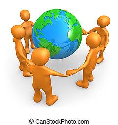 世界, のまわり, 人々