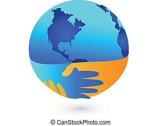 世界, のまわり, 握手, ロゴ