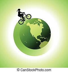 世界, のまわり, biking, 女, 2