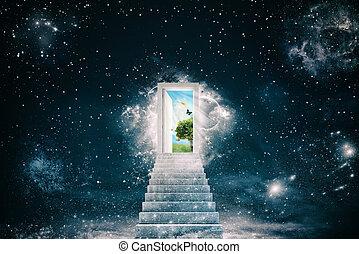 世界, の後ろ, ドア, 緑, 新しい