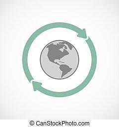世界, アメリカ, 地域, アイコン, 再使用, 隔離された, 地球