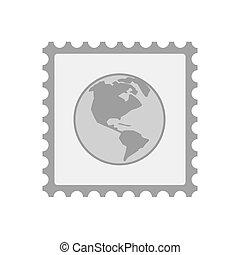 世界, アメリカ, 地域, アイコン, 隔離された, 切手, 地球, メール
