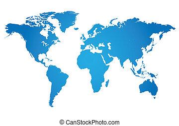 世界, イラスト, 地図