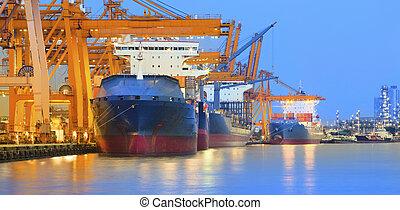 世界, インターナショナル, クレーン, 重い, パノラマ, 美しい, エクスポート, 庭, 輸入, 使用, 取引, たそがれ, 船, 現場, 産業