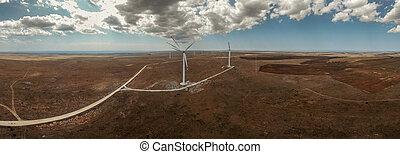 世界, エネルギー, turbines., 緑, 風