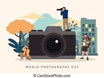 世界, カメラ, 写真撮影, 大きい, 祝福, 日, カメラマン