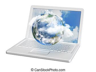 世界, コンピュータ, 雲