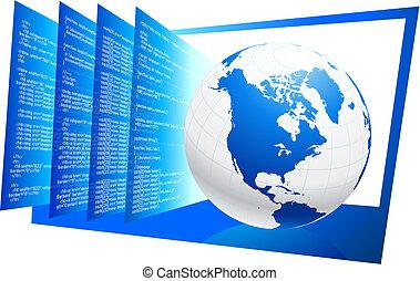 世界, コード, 背景, 広く, 網, html