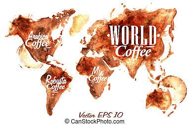 世界, コーヒー, 地図