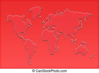 世界, シルエット, 地図