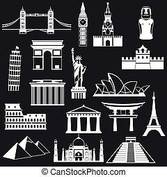 世界, シルエット, 建物, 抽象的, 有名