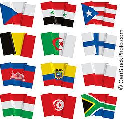 世界, セット, 旗