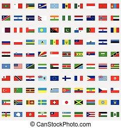 世界, セット, 旗, 新しい