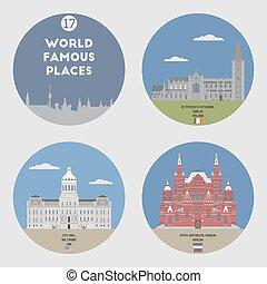 世界, セット, 有名, 17, places.