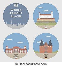 世界, セット, 15, 有名, places.