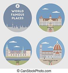 世界, セット, 4, 有名, places.