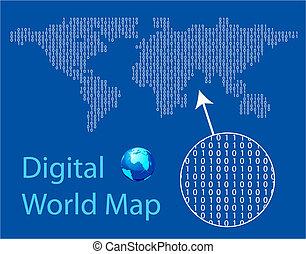 世界, デジタル, 地図