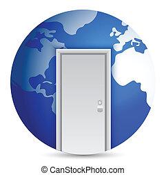 世界, ドア, 中心