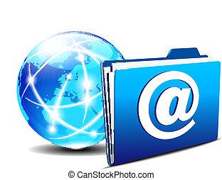 世界, フォルダー, 電子メール, インターネット