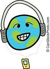 世界, ヘッドホン, 微笑