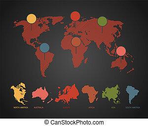 世界, ベクトル, イラスト, 地図