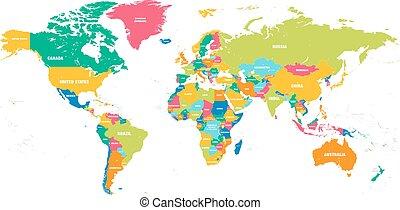 世界, ベクトル, カラフルである, 地図