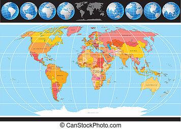 世界, ベクトル, 地図