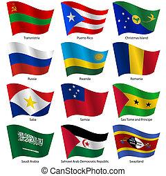 世界, ベクトル, 旗, セット, states., 主権, illustration.