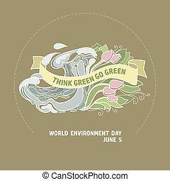 世界, ベクトル, 行きなさい, 考えなさい, 日, 緑, card., 環境, green.