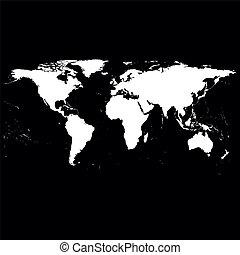 世界, ベクトル, 黒, 地図