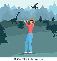 世界, ベクトル, dinosaurs., technology., 現実, 事実上, 女の子, glasses., 平ら, 現代, illustration.