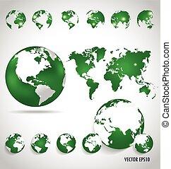 世界, ベクトル, illustration., 地図