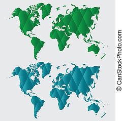 世界, ベクトル, map., illustration.