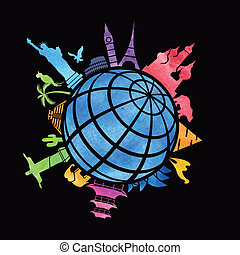 世界, ランドマーク, のまわり