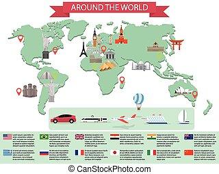世界, ランドマーク, infographic, 地図