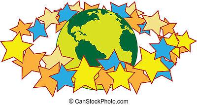 世界, リング, ハロー, のまわり, 星