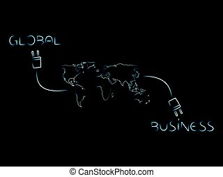 世界, 世界的である, 接続される, ネットワーク, ビジネス